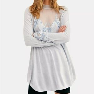 Free People Saheli Glacier Ice Lace Top Size Med